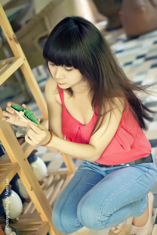 chụp hình chân dung model Thùy Vân